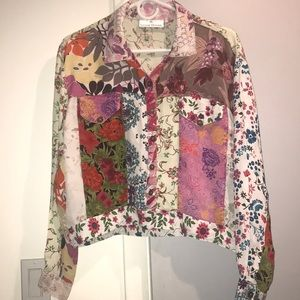 Sacred threads rayon Art Deco patchwork blouse